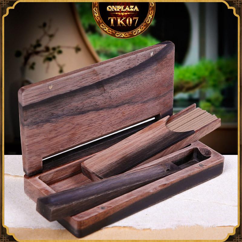 Bộ hộp đựng nhang gỗ Ebony đa năng TK07