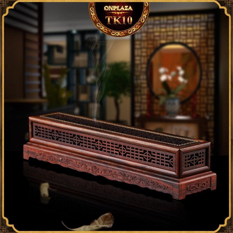 Hộp đốt nhang gỗ cẩm lai đỏ điêu khắc cổ điển