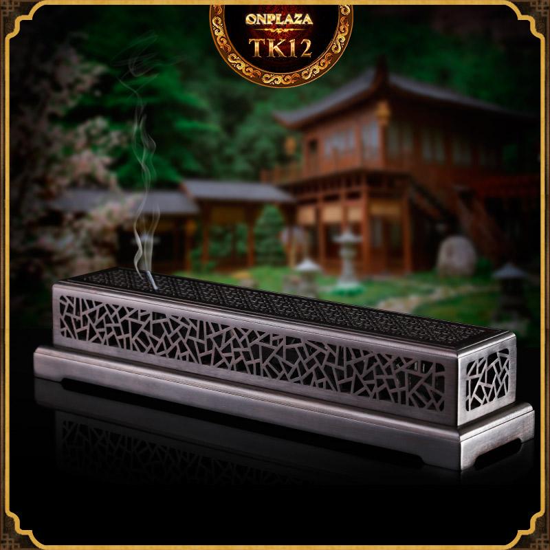 Hộp đốt nhang gỗ mun điêu khắc họa tiết cổ điển