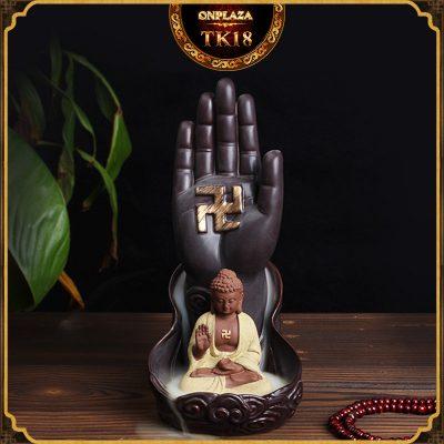 Khay đốt trầm hương nụ tỏa ngược kiểu dáng Như Lai bàn tay chấp Pháp TK18