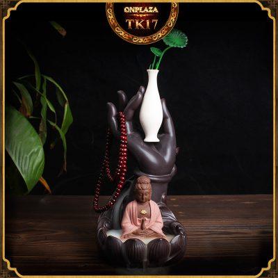 Khay đốt hương trầm nụ tỏa ngược kiểu dáng Quan Âm Bồ Tát bên bình Ngọc Tịnh TK17