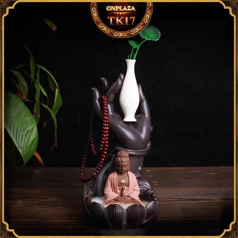 Khay đốt hương nụ tỏa ngược kiểu dáng Quan Amm Bồ Tát bên bình Ngọc Tịnh
