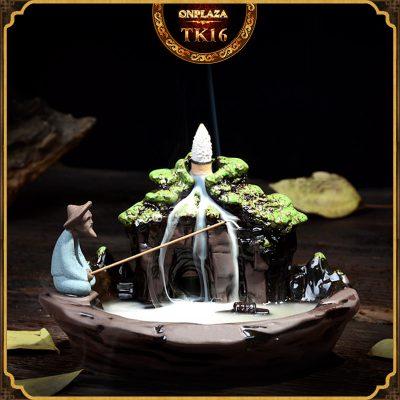 Khay đốt Trầm bằng gốm sứ kiểu dáng Khương Thái Ông câu cá TK16