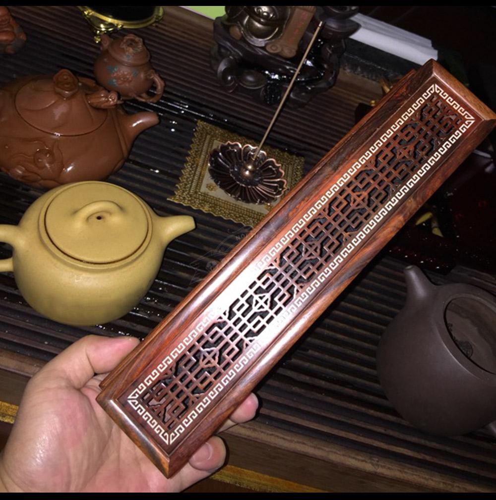 Hộp đốt nhang trầm gỗ cẩm lai đỏ để bàn làm việc