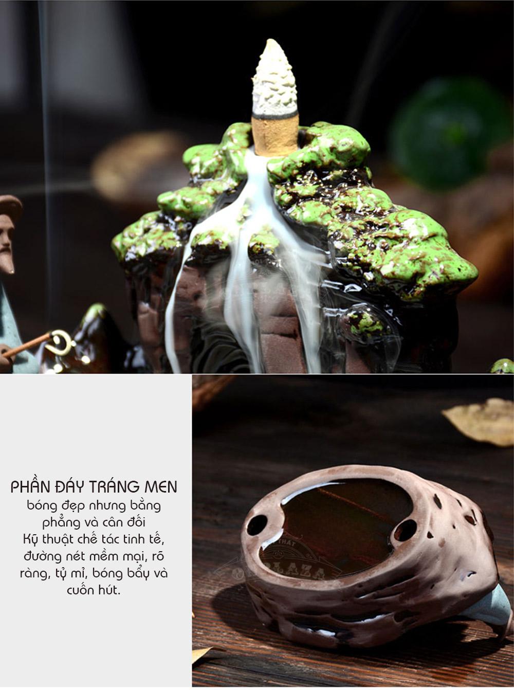 Khay đốt trầm hương khói ngược bằng gốm