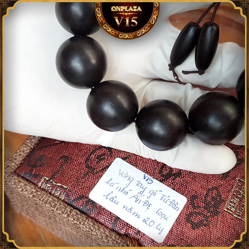 Vòng tay bằng gỗ Tử Đàn lá nhỏ Ấn Độ loại lâu năm cao cấp 20 ly V15 3